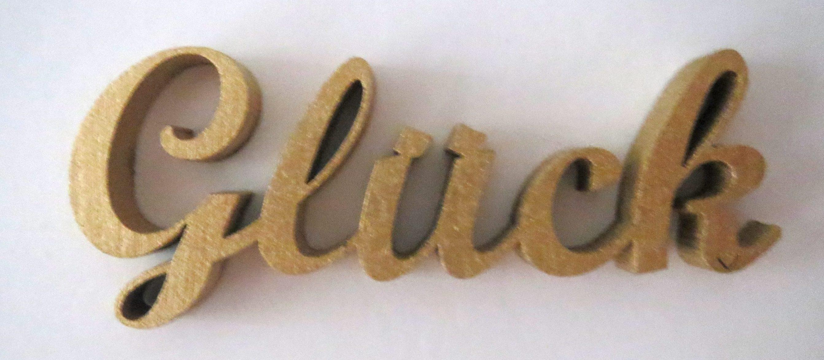Bild Schriftzug mit Text Glück am Boden